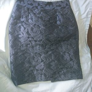 Banana Republic Charcoal Damask Lace Pencil Skirt